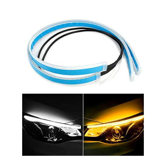Carzex 60 CM Flexible White Daytime Running Light For Cars & Bikes with Matrix Yellow Indicator with Turn Sequential