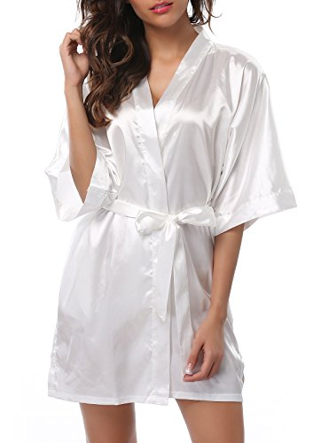 FADSHOW Women's Solid Color Kimono Robes Bathrobes Short Wedding Robes for Bridal Party,White