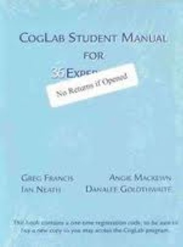 CogLab Student Manual for 36 Experiments (with PinCode for Online Access)
