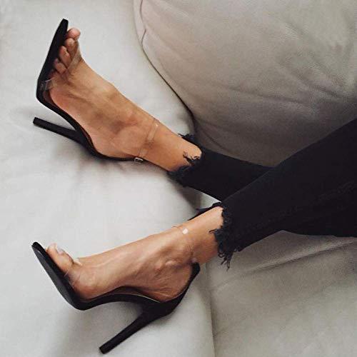 Eleganti Grandi Nero Alto Donna Cristallo Di Scarpe Tacco Da Trasparenti E Passerella Sandali Con Oudan Sexy Dimensioni q8naXwwOH