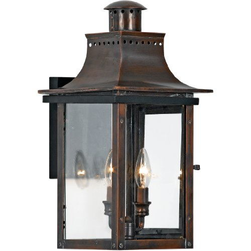 Quoizel CM8410AC Chalmers 2-Light Outdoor Lantern, Aged Copper