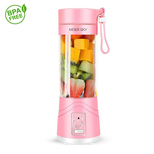 Portable Blender Battery - Portable Juicer Blender, Household Fruit Mixer - Six Blades in 3D, 380ml Fruit Mixing Machine with USB Charger Cable for Superb Mixing, USB Juicer Cup by Moer Sky (B)