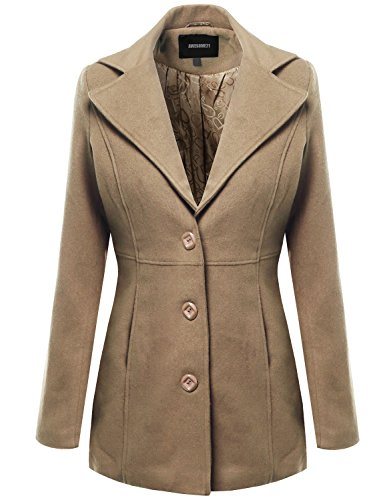 Wills Coat (Awesome21 Warm Classic Single Breasted Winter Coat Around 30inch Length Camel Size S)