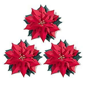 Paper Poinsettia Flowers Handcrafted Flowers Red Paper Flowers Girls Party Wedding Bridal Shower Christmas Decoration Table Centerpiece, Set of 3, Easy Joy 6