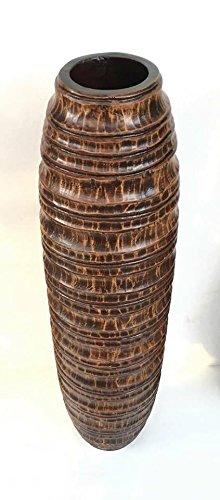 Baan Tawai, Chiang Mai, Mango Wood Vase Hand-Crafted, Floor Vase 30 inches (No.009) by WADSUWAN SHOP