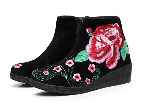 AvaCostume Womens Embroidery Suede Side Zipper Wedge Boots Black xylnC