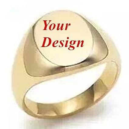 Nuevo Custom Made personalizado Logo imagen dorado iniciales nombre & fecha grabado anillo de sello de