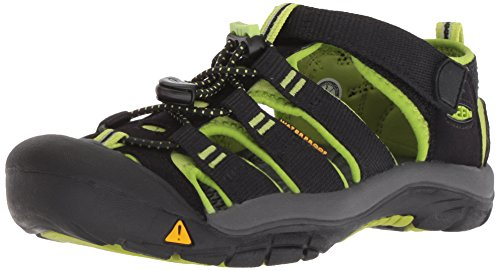 KEEN Big Kid (8-12 Years) Newport H2 Black/Lime Green Sandal - 5 M US Big Kid (Newport Green Beach)