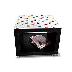 banjado - negro mesa auxiliar con ruedas 55 x 45 x 55 cm y diseño funnyusbsticks