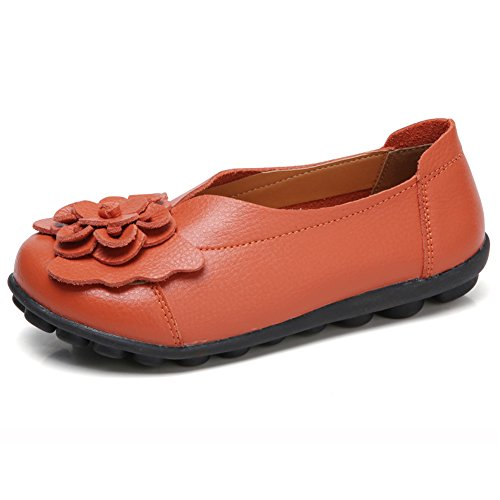Women Leather Shoes Color Flats Slip On Loafers Orange - 4