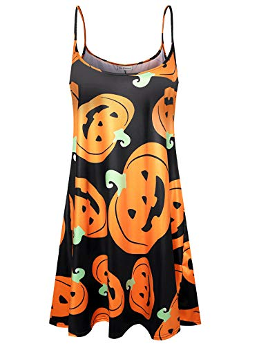 (Plus Size Women's Halloween Spaghetti Loose Swing Slip Dress (Halloween -)
