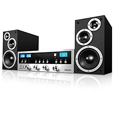 Innovative Technology ITCDS-5000 Classic Retro Bluetooth Stereo System with CD Player, FM Radio, Aux-In, and Headphone Jack, Black and Silver