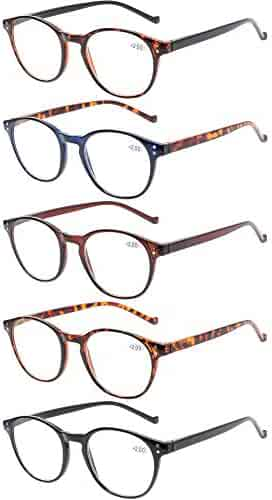 8b423a9143b3 5 Pairs Reading Glasses - Standard Fit Spring Hinge Readers Glasses for Men  and Women