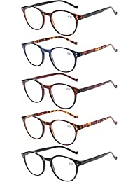 028cff09e4c2 5 Pairs Reading Glasses - Standard Fit Spring Hinge Readers Glasses for Men  and Women