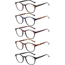 d619f3b6244 5 Pairs Reading Glasses - Standard Fit Spring Hinge Readers Glasses for Men  and Women