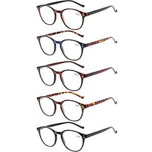 5 Pairs Reading Glasses – Standard Fit Spring Hinge Readers Glasses for Men and Women