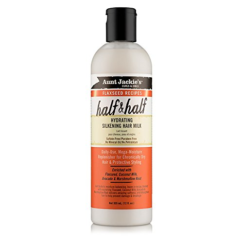 Aunt Jackie's Flaxseed Recipes Half & Half, Hydrating Silkening Hair Milk, For Daily Use, Enriched with Flaxseed, Coconet, Jojoba Oil, Shea Butter, Grapeseed and Ginseng, 12 Ounce Spray Bottle (Enriched Flaxseed Oil)