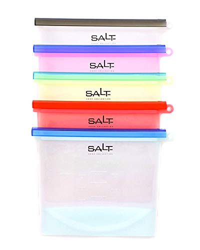 SALT HOME Reusable Silicone Storage Bags | Airtight Food Preservation | Versatile: Microwave, Freezer, Refrigerator, Dishwasher | FDA & SGS Approved | 5 Pack | 1 Liter