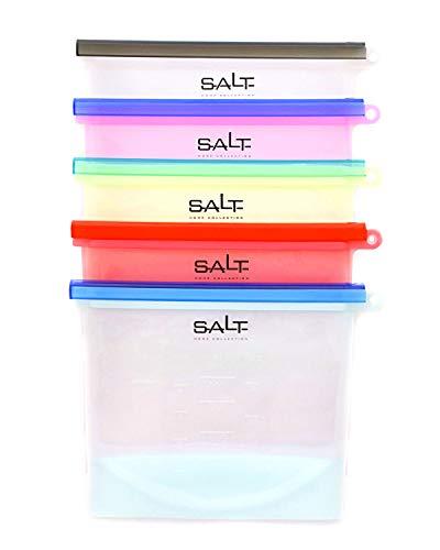 SALT HOME Reusable Silicone Storage Bags | Airtight Food Preservation | Versatile: Microwave, Freezer, Refrigerator, Dishwasher | FDA & SGS Approved | 5 Pack | 1 Liter