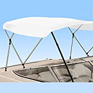 Savvycraft 3 Bow 6ft Long Bimini Top Boat Cover 1 Inch Aluminum Frame with Storage Boot and Rear Poles Mountin