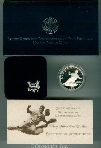(1997 S Jackie Robinson Proof Silver Dollar)