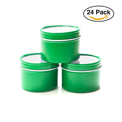 Mimi Pack 4 oz Deep Round Clear Window Tin Slip Top Lid For Salves, Favors, Spices, Balms, Candles, Gifts Limited Run Series 24 Pack (Green) (Tin Plastic)