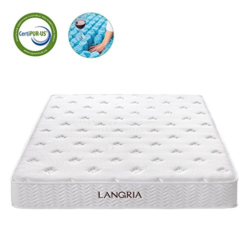 Langria 10-Inch King Size Plush High Density Memory Foam Mattress with Stereoscopic Hypoallergenic Bamboo Cover