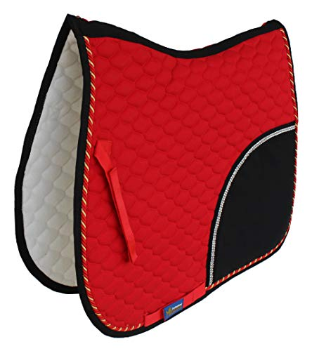 St. Charles Horse Quilted ENGLISH SADDLE PAD Tack Trail Riding Red Black 72F11