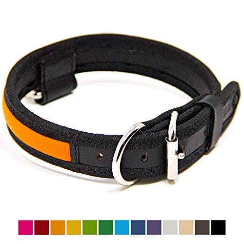 (Logical Leather Premium Leather Dog Collar - Best Full Grain Heavy Duty Genuine Leather Collar (Orange, Medium))