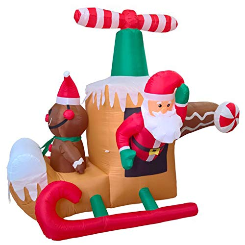 Phoenixreal 6 Foot Christmas Inflatables Helicopter Santa, Animated Airblown Inflatable Flying Helicopter with Santa and Elf, Lighted for Home Outdoor Yard Lawn Decoration