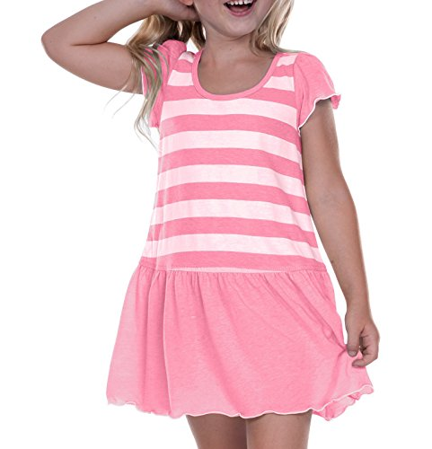 Kavio! Little Girls 3-6X Striped Jersey Scoop Neck Flutter Sleeve Dress Striped White/PinkFlash 6X (Striped Flutter Sleeve Dress)