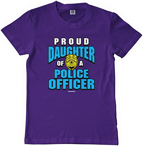 Threadrock Big Girls' Proud Daughter of a Police Officer Youth T-Shirt M Purple (Girls Police Outfit)