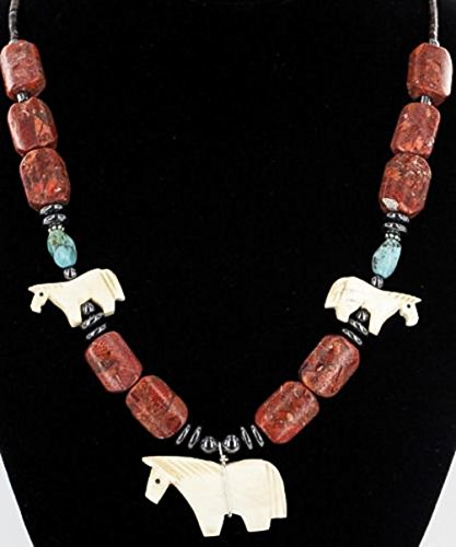 Carved Horse Fetish $280 Retail Tag Authentic Charlene Little Navajo Silver Natural Turquoise, Coral and Bone Native American Necklace
