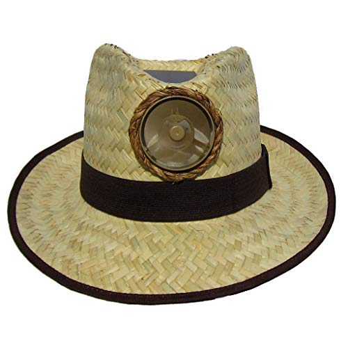 Fedora Sun Hat Cooling Solar Powered with Fan Natural Straw Cool UPV 50+ Protection (Wide ()
