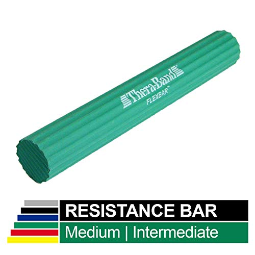 TheraBand FlexBar, Tennis Elbow Therapy Bar, Relieve Tendonitis Pain & Improve Grip Strength, Resistance Bar for Golfers Elbow & Tendinitis, Green, Medium, Intermediate (Exercise Rubber Bands For Golfer)
