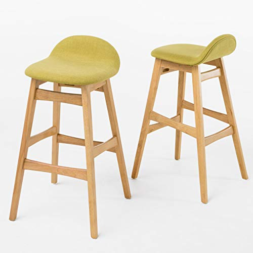 Christopher Knight Home Moria Fabric / Oak Finish Bar Stools, 2-Pcs Set, Green Tea