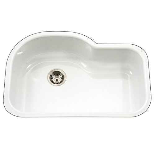 Houzer PCH-3700 WH Porcela Series Porcelain Enamel Steel Undermount Offset Single Bowl Kitchen Sink, White (Kitchen Sink Porcelain)