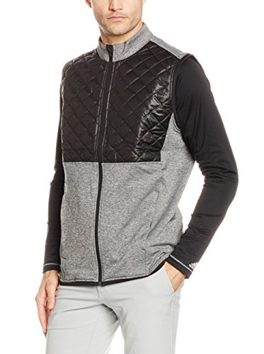 Adidas Golf Vest (Adidas Golf 2016 Climaheat Prime Fill Gilet Insulated Quilted Mens Golf Thermal Vest Dark Grey Heather/Black Medium)