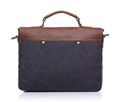 Dark Hombro Bag De Gray Color Marrón Zip Canvas Baachang Bolsa Simple Messenger Maletín Retro color Khaki 0qzp6wF