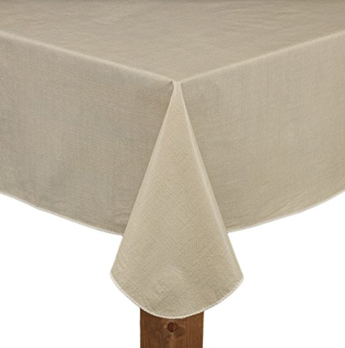 Lintex Cafe Deauville Sand 60x84 Oval Vinyl Tablecloth [Kitchen]