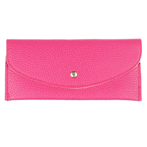 DZT1968(TM)Women Candy Color Retro Pu Leather Long Thin Button Purse Pouch Clutch Bag Card Holder Wallet Gift (Pink Items)