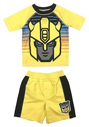 Dreamwave Toddler Boy Transformers Costume Rash Guard Swim Shirt Rashguard and Swim Swimsuit Set 2T