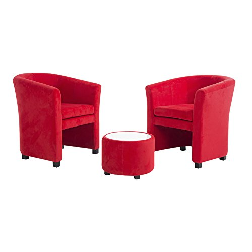 HomCom Plush Tub / Barrel Club Arm Seat Chair and Ottoman Set - Red