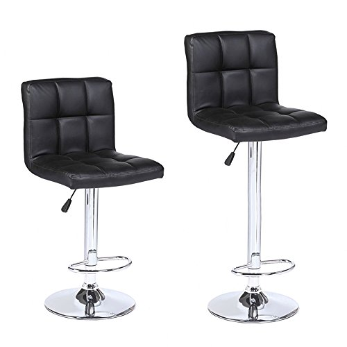 Room Living Set Bar Stool (Mecor New Reinforced Design Leather Bar Stools Adjustable Swivel Hydraulic Square Dining Chairs with Chrome Base,Set of 2,Black)