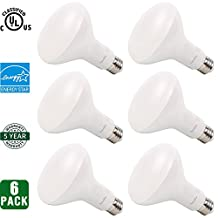 6 Pack Hykolity BR30 LED Bulb, 9W(65W Equivalent), 3000K Warm White, Wide Flood Light Bulb, Dimmable, 650lm, Energy Star & UL Qualified, 120 Degree Beam Angle, Medium Base E26, Indoor Home Commercial Recessed Track General Lighting
