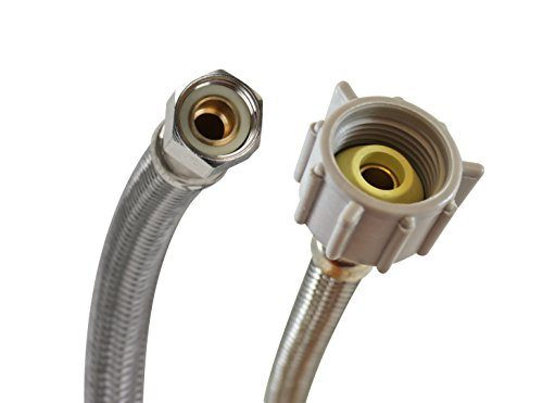 Fluidmaster B1T09 Toilet Connector, Braided Stainless Steel - 3/8 Female Compression Thread x 7/8 Female Ballcock Thread, 9-Inch Length