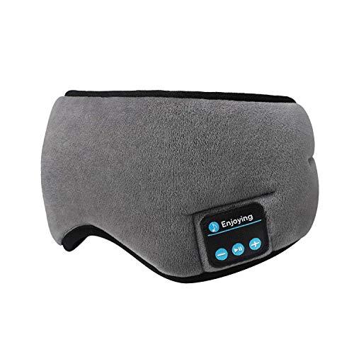 Bluetooth Sleeping Eye Mask Headphones Blindfold Wireless Music Travel Sleep Eye Shades Headset Washable (Grey)