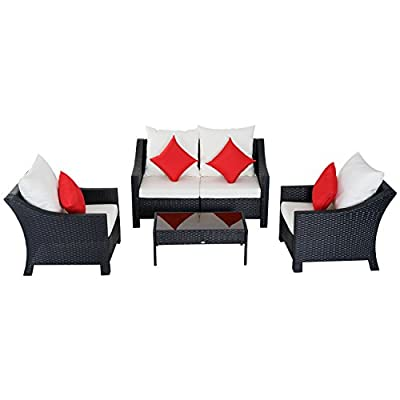 "Outsunny 4 Piece Outdoor Patio Rattan Wicker Cushioned Loveseat and Chair Set - ✅5 PIECE OUTDOOR BISTRO SET: This sleek, contemporary bistro set includes 2 single cushioned sofa chairs, 2 single armchairs and 1 tempered glass top coffee table which is sure to complement any patio setting. ✅COMPACT DESIGN: The compact and lightweight design make this piece perfect for small spaces, such as sunrooms, porches and apartment balconies. ✅CUSHIONED COMFORT: This set is equipped with 4"" thick back and seat cushions for comfort and support with removable water-resistant covers for easy washing. 4 Throw pillows included for added comfort. - patio-furniture, patio, conversation-sets - 41r7aiNZzML. SS400  -"