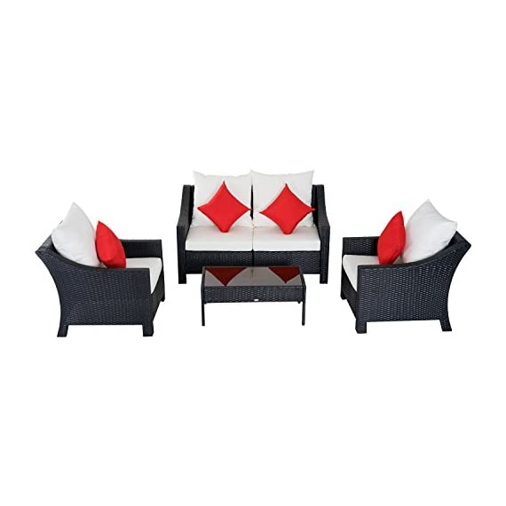"Outsunny 4 Piece Outdoor Patio Rattan Wicker Cushioned Loveseat and Chair Set - ✅5 PIECE OUTDOOR BISTRO SET: This sleek, contemporary bistro set includes 2 single cushioned sofa chairs, 2 single armchairs and 1 tempered glass top coffee table which is sure to complement any patio setting. ✅COMPACT DESIGN: The compact and lightweight design make this piece perfect for small spaces, such as sunrooms, porches and apartment balconies. ✅CUSHIONED COMFORT: This set is equipped with 4"" thick back and seat cushions for comfort and support with removable water-resistant covers for easy washing. 4 Throw pillows included for added comfort. - patio-furniture, patio, conversation-sets - 41r7aiNZzML. SS570  -"