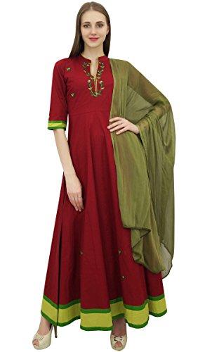 Atasi Cotton Dress Anarkali Dupatta Da Donna Indiano Maroon E Verde Oliva